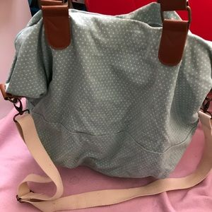Mossimo weekender bag blue and white polka dots